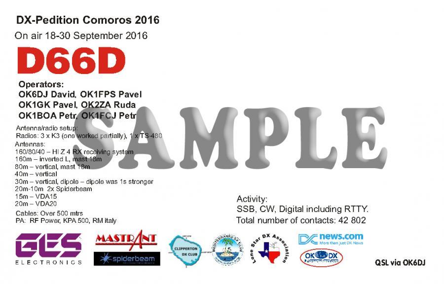 Comoro Islands D66D DX Pedition QSL 1