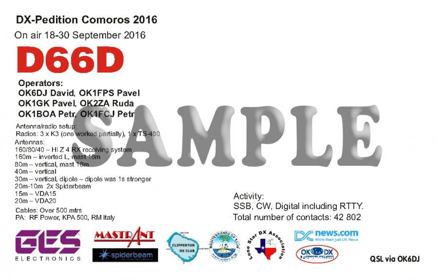 Comoro Islands D66D DX Pedition QSL 1