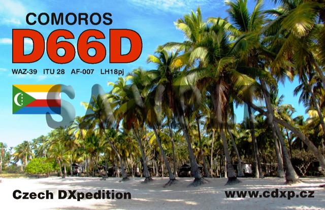 Comoro Islands D66D QSL Card