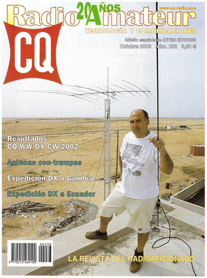 Antonio, CT1DVV, on the roof of the house of Xara, D44TD in Sal Island, Cabo Verde, Cape Verde Islands in October 2001.