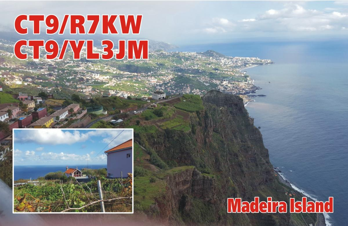 CT9/R7KW CT9/YL3JM Madeira Island QSL