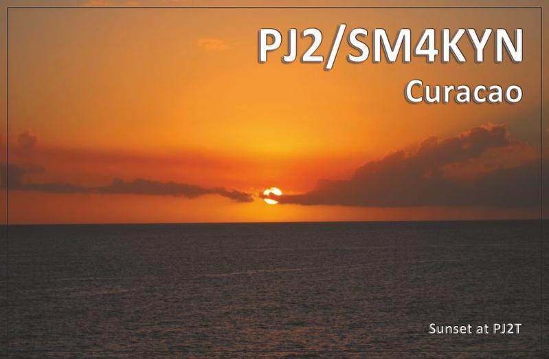 Curacao Island PJ2/SM4KYN QSL Sunset at PJ2T