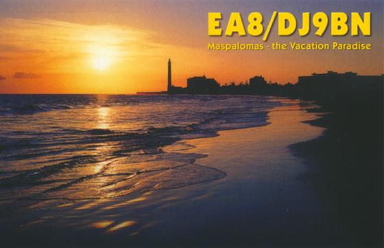 EA8/DJ9BN Маспаломас Канарские острова. QSL версия 2