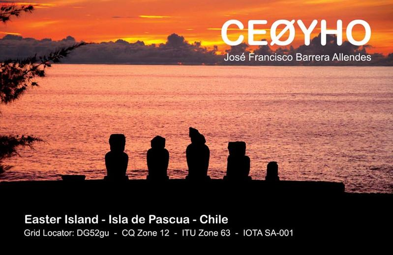 Easter Island CE0YHO QSL
