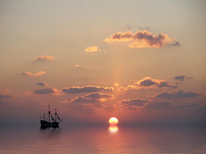 Grand Cayman Island Cayman Islands ZF2CJ Tourist attractions spot Galleon Nina, Sunset.