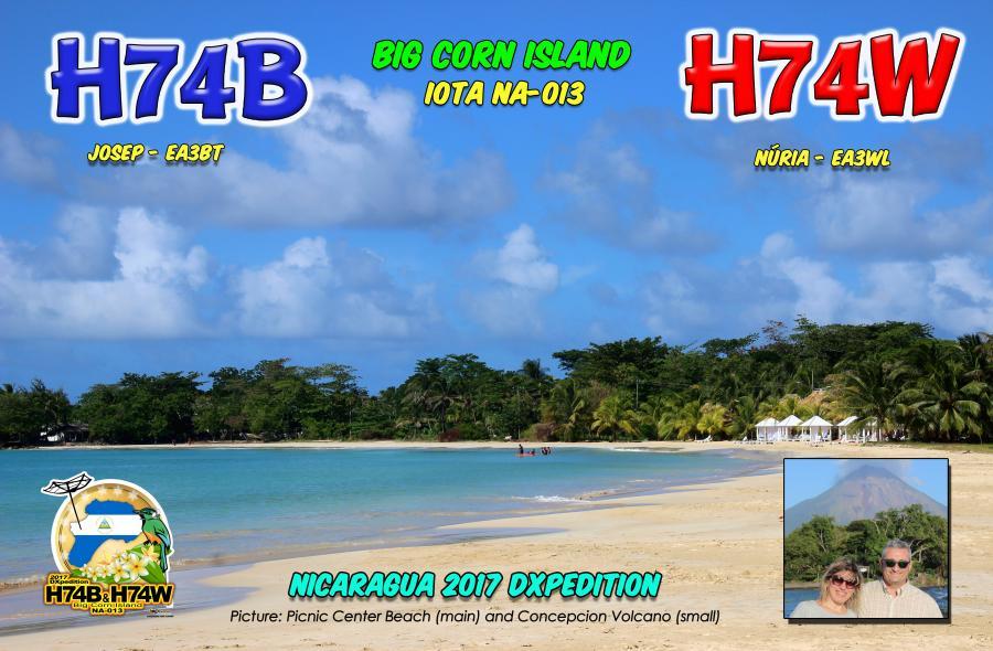 Big Corn Island H74B H74W QSL