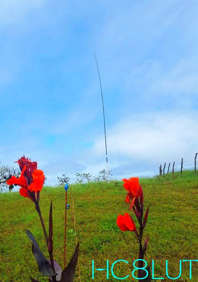 HC8LUT Galapagos Islands Flowers and vertical antenna