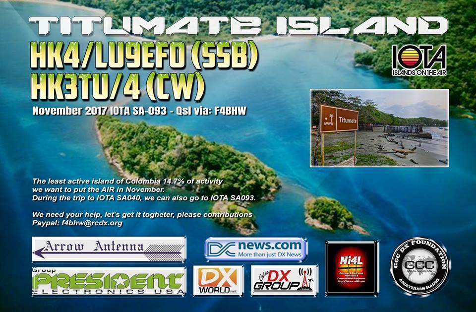 HK4/LU9EFO HK3TU/4 Titumate Island Logo