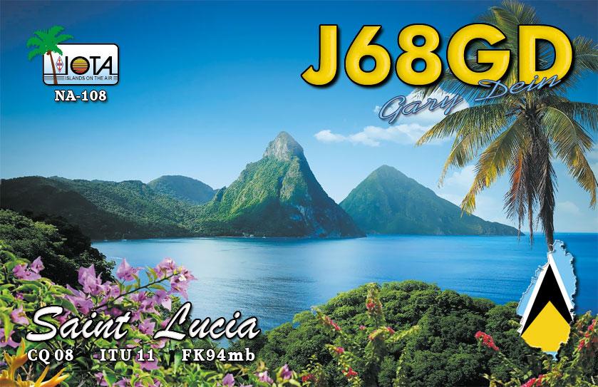 J68GD Saint Lucia Island IOTA NA - 108 QSL