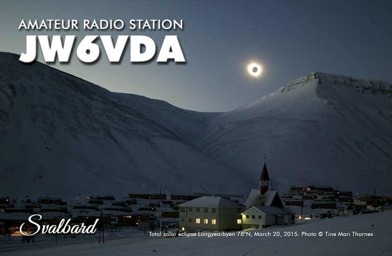 Svalbard JW6VDA QSL Total solar eclipse