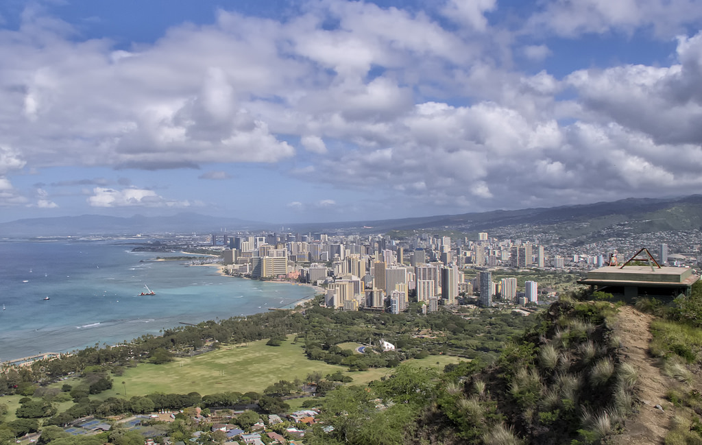 KH7CW Downtown Honolulu as seen from the top of Diamond Head, Hawaiian Islands. Tourist attractions spot