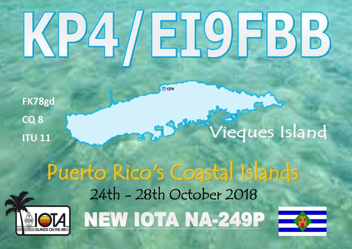 KP4/EI9FBB Vieques Island QSL Card