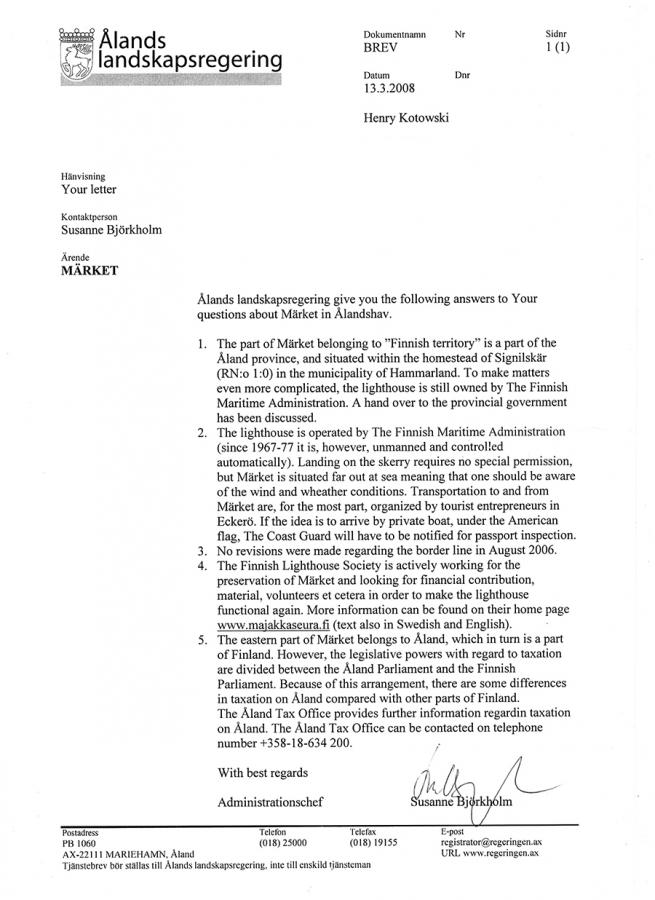 Letter from Alands Regiional Government 13 March 2008