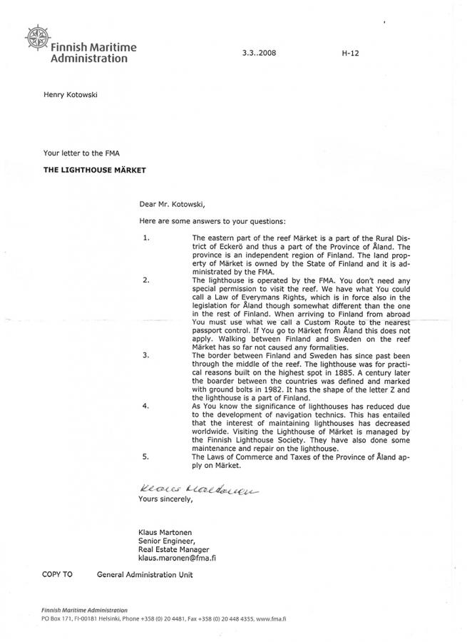 Letter Finnish Maritime Administration
