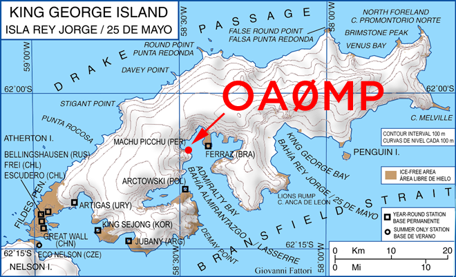 Machu Picchu station OA0MP King George Island South Shetland Islands Antarctica Map