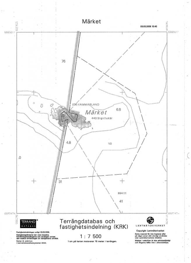 A copy of the Land Survey Office map of Märket.