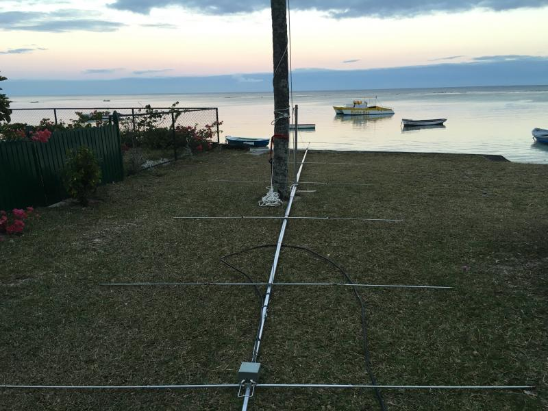 Mauritius Island 3B8/ZS4TX Antenna is rest mode
