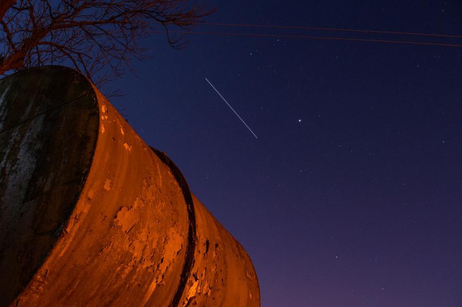 Радиолюбители Международная Космическая Станция Мир на фоне звездного неба