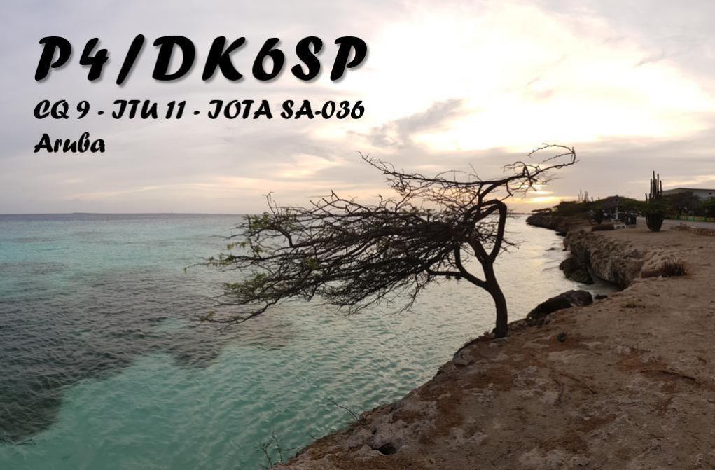 P4/DK6SP Aruba QSL Card Front