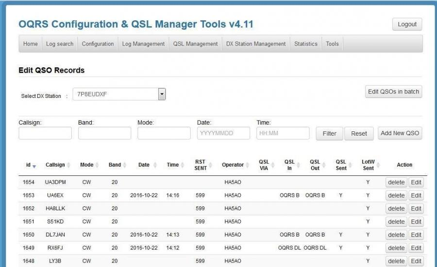 PDXG QSL Manager OQRS Configuration and Edit QSL Manager Tools v4.11