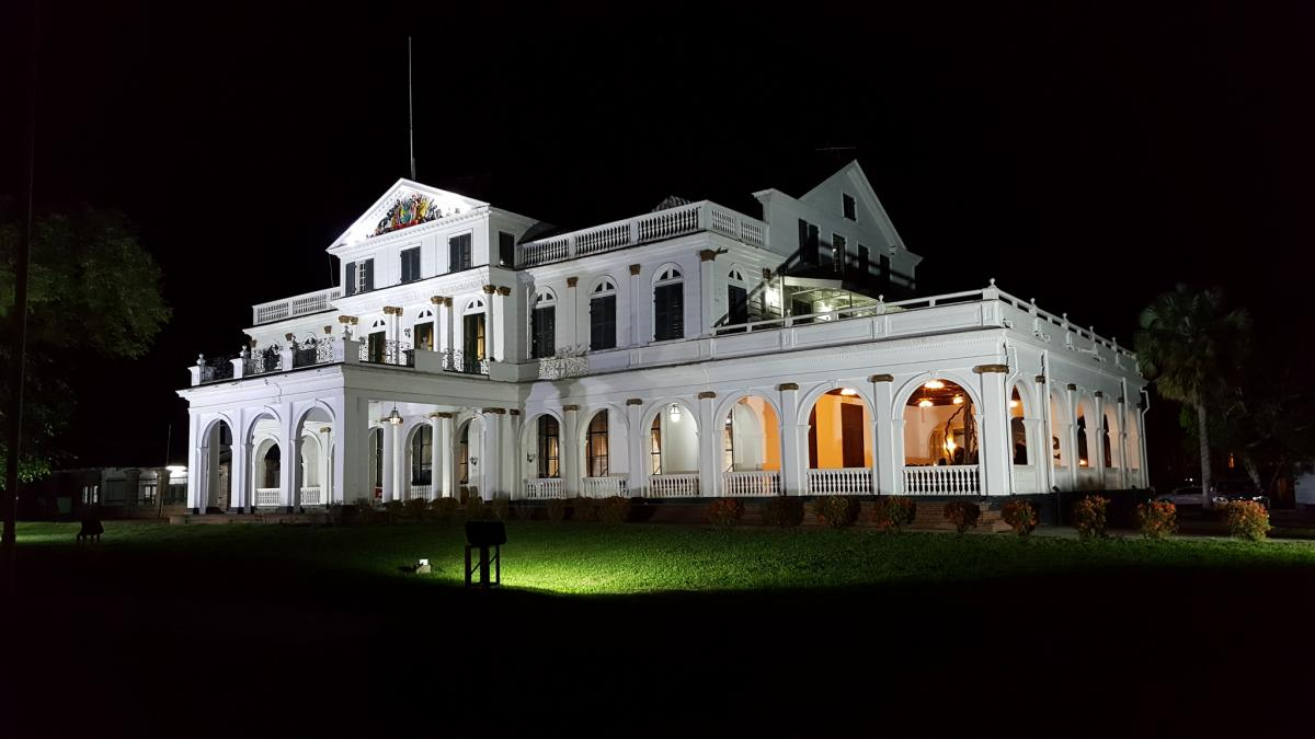 PZ5T Presidential Palace, Paramaribo, Suriname. Tourist attractions spot