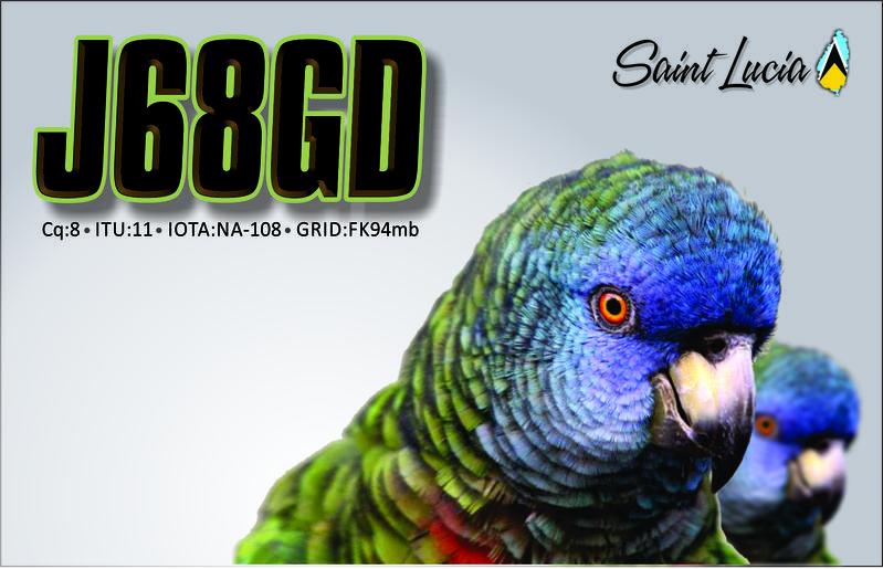 Saint Lucia Island J68GD QSL
