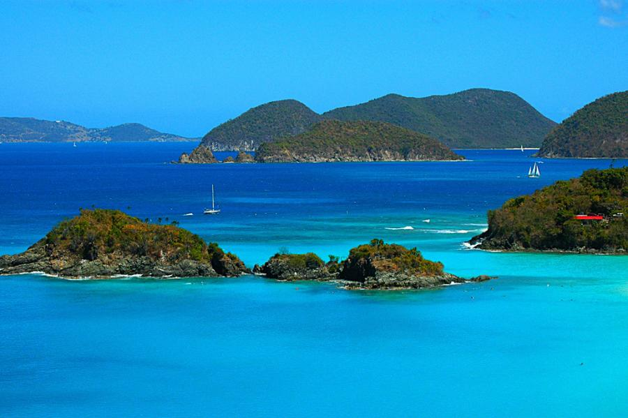 US Virgin Islands NP2P Tourist attractions spot Trunk Bay Beach, Saint Johns.