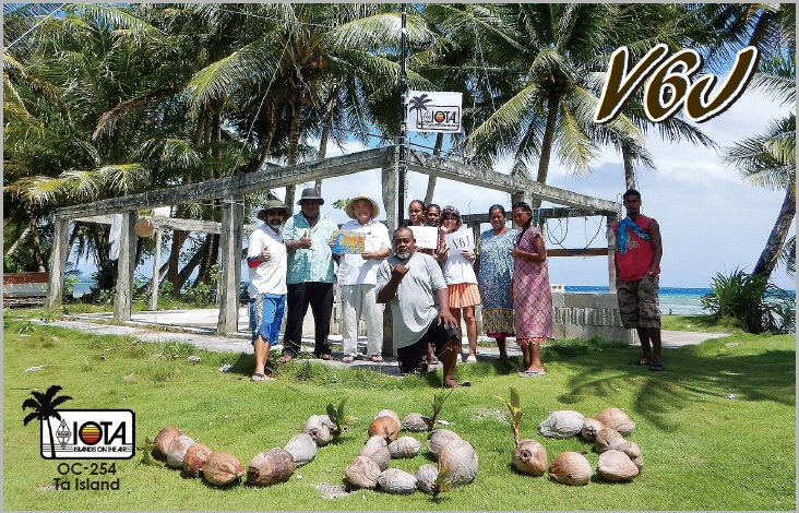 V6J Ta Island, Mortlock Nomoi Islands. QSL Card