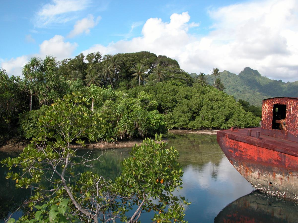 V6K Rusted Ship in front of Mangroves at Kosrae Island DX News
