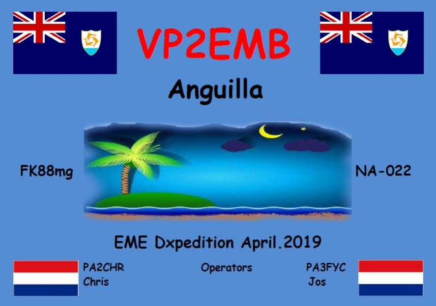 VP2EMB Anguilla Island EME DX Pedition Banner