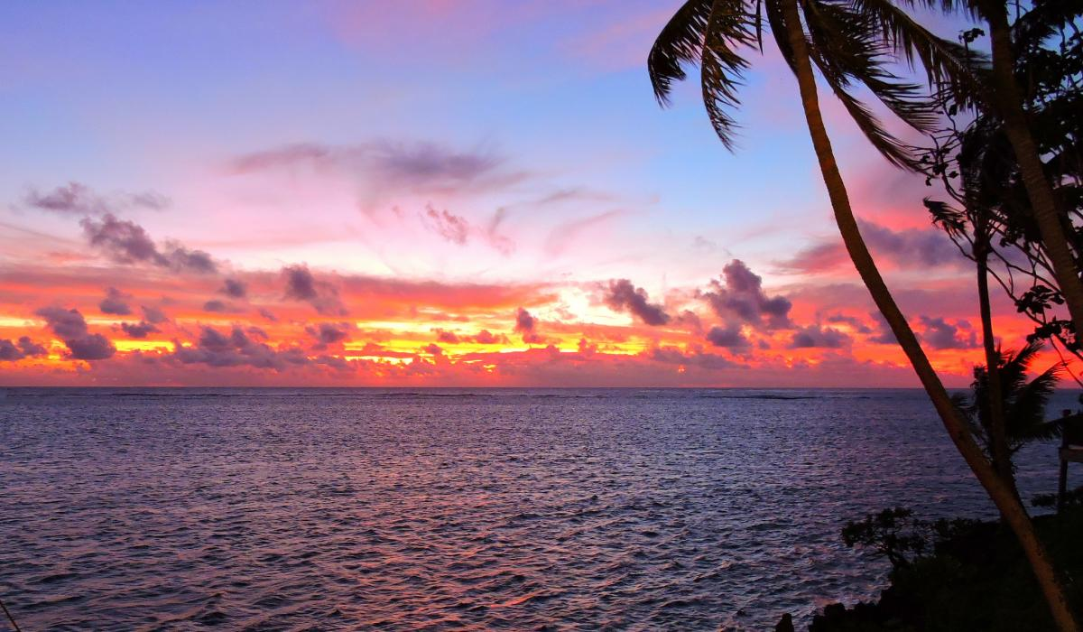 3D2VR Sunset seen from the Shangri-La Fijian Resort, Fiji. Tourist attractions spot
