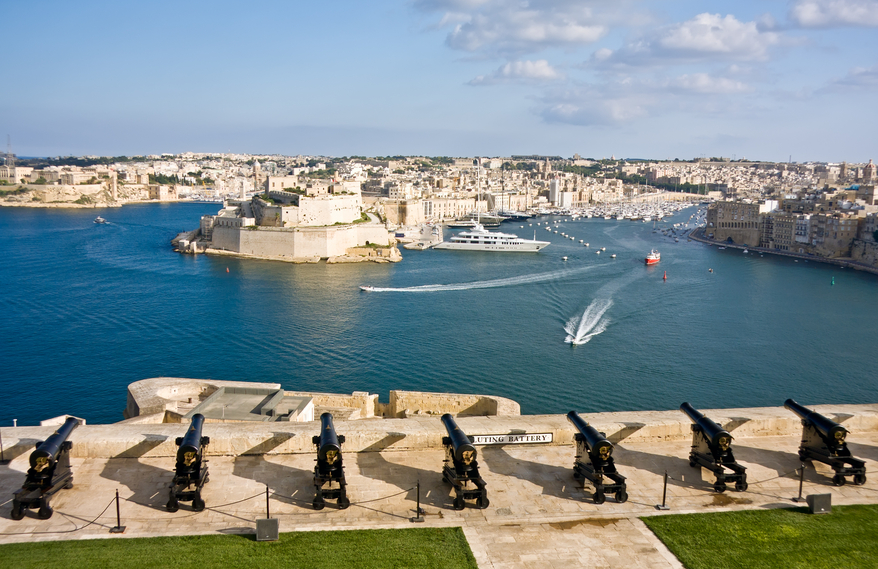 Malta 9H3WG 9H3WC Tourist attractions Grand Harbor and medieval cannons battery Valetta