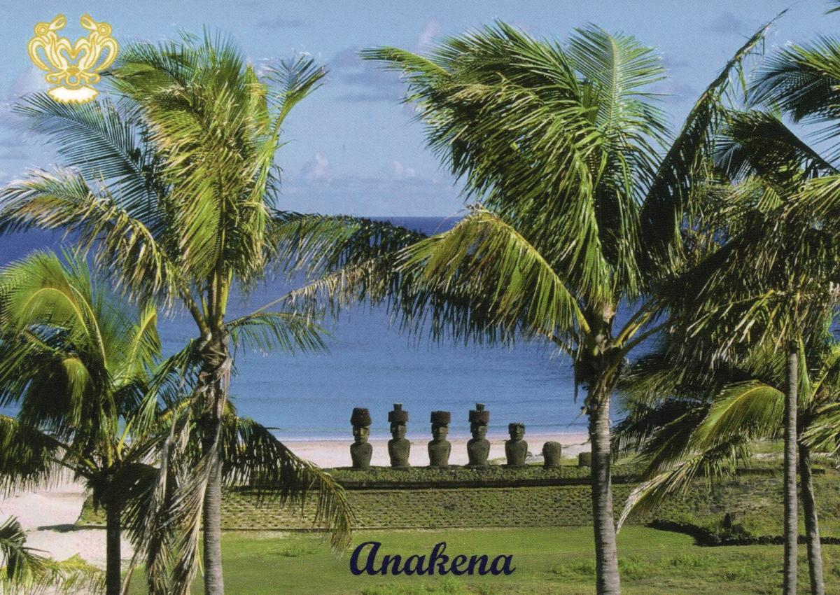 CE0Y/UR5BCP Anakena Beach, Easter Island. Tourist attractions spot