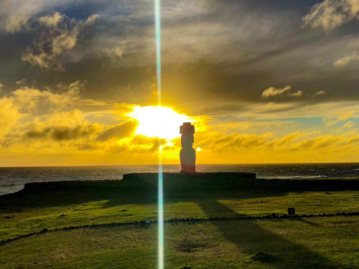 CE0Y/VE7ACN Sunset, Tahai, Easter Island. Tourist attractions spot