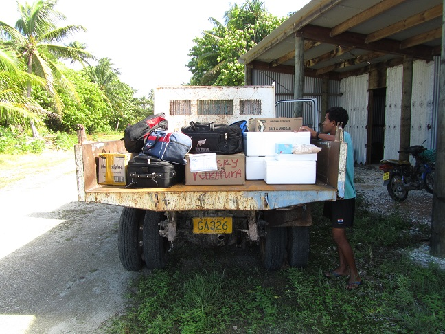 Luggage transportation from the airstrip to the boat.
