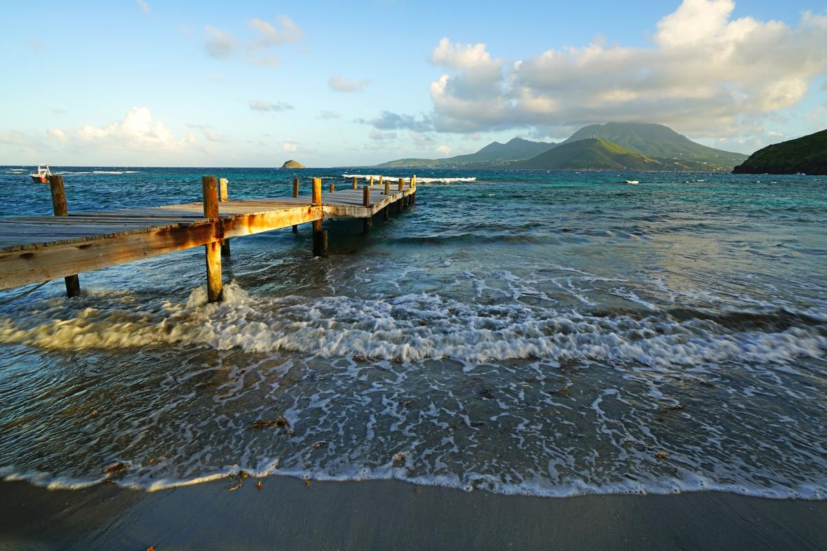 V4/WB4M Turtle Beach, Saint Kitts Island, Saint Kitts and Nevis. Tourist attractions spot