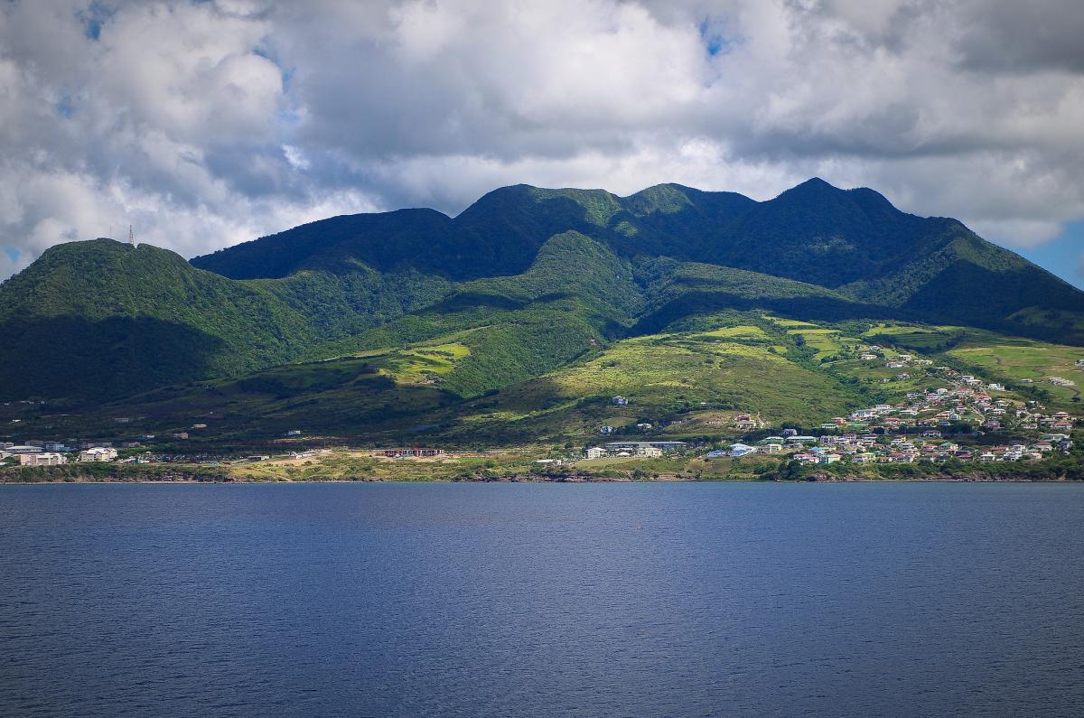 St Kitts Island View from the Cruise Ship, Saint Kitts and Nevis. Tourist attractions and spot V49V