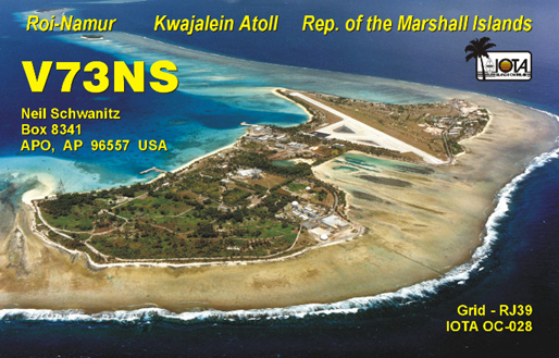 Kwajalein Atoll Marshall Islands V73NS QSL
