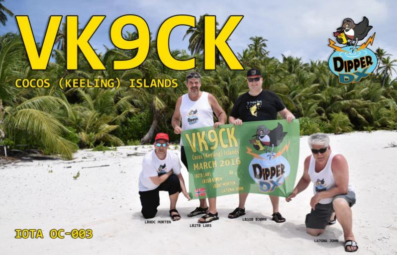 VK9CK Cocos Keeling Islands DX Pedition QSL Card