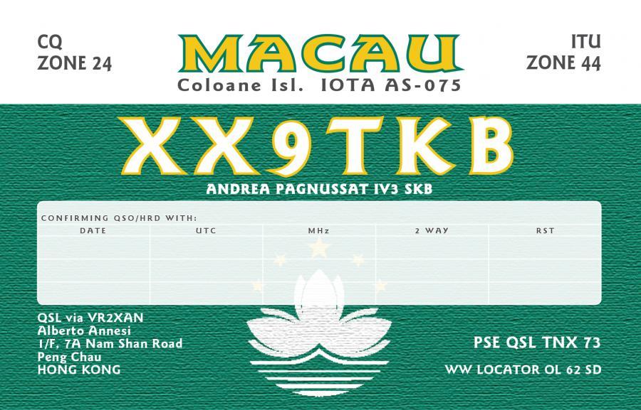 Макао XX9TKB QSL