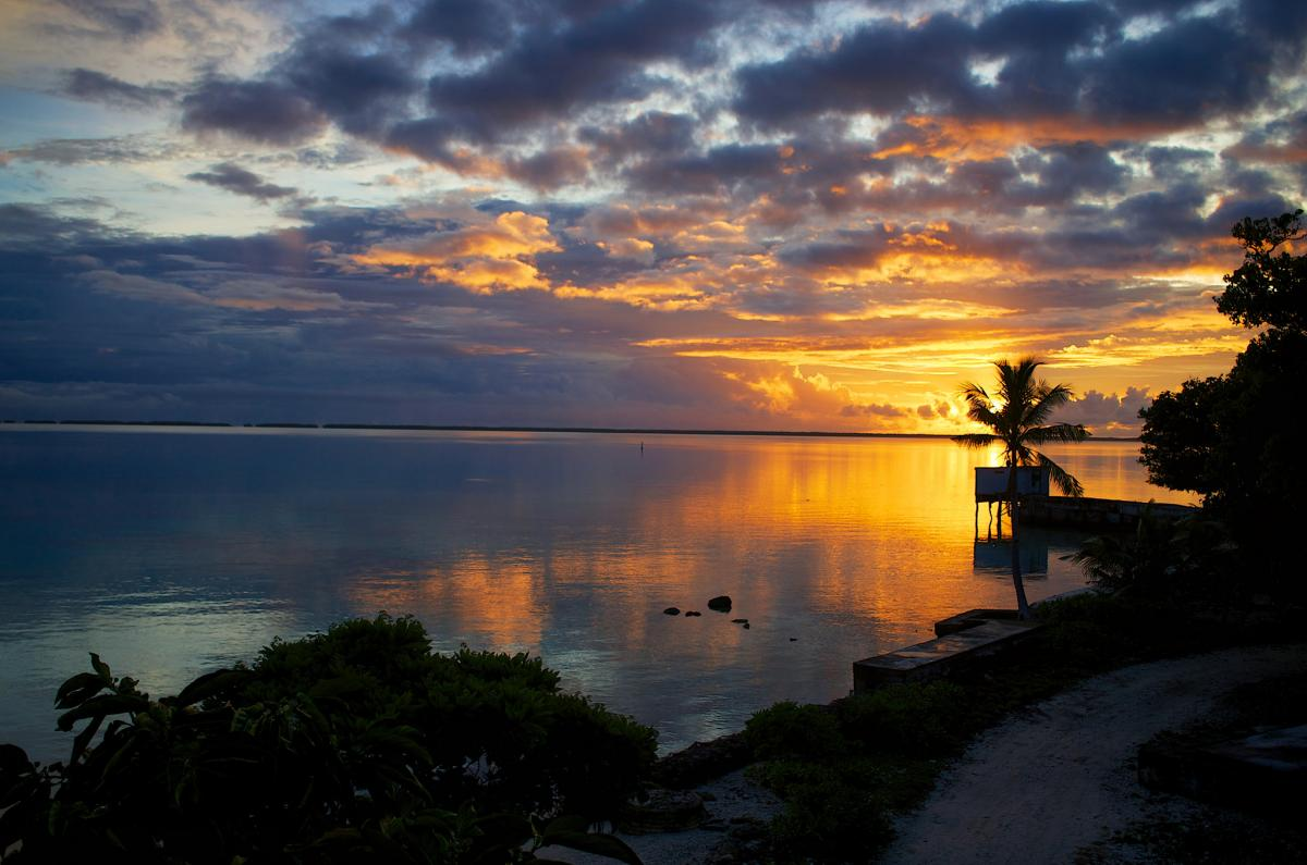 ZK3A Sunrise, Nukunonu Lagoon, Tokelau Islands. Tourist attractions spot