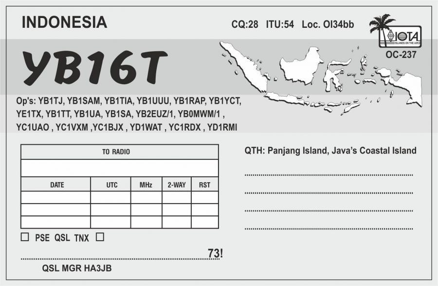YB16T Panjang Island IOTA QSL