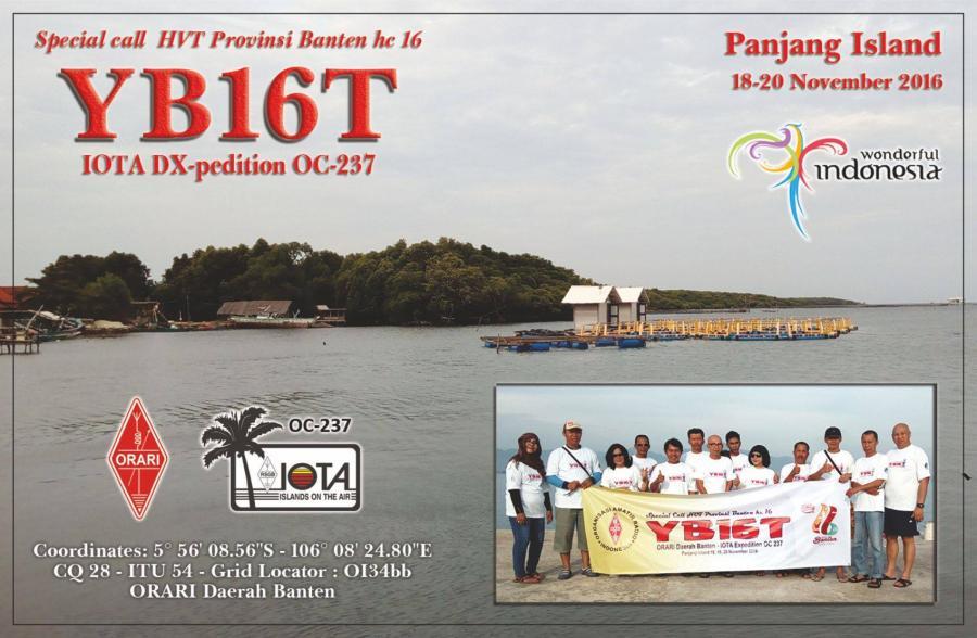 YB16T Panjang Island QSL