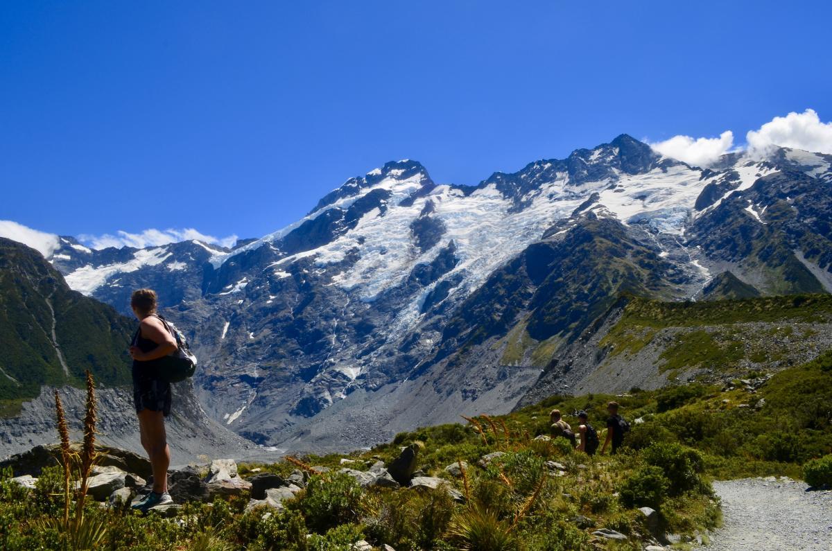 ZM1A Hooker Valley Track, New Zealand. Tourist attractions spot